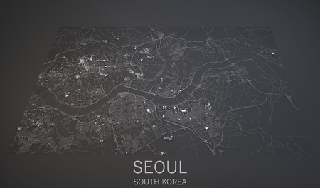 Seoul South Korea 3d map satellite view 스톡 콘텐츠