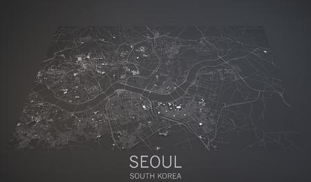 Seoul South Korea 3d map satellite view Banque d'images