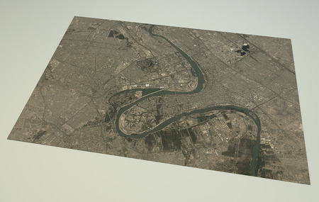 Satellite View Baghdad, map, section 3d