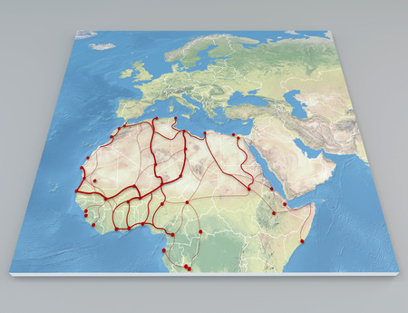 sea life centre: Map Africa migration flows Stock Photo