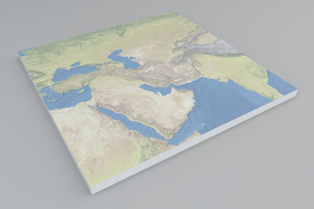 planisphere: Middle East satellite view split 3d