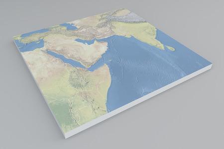 Middle East satellite view split 3d
