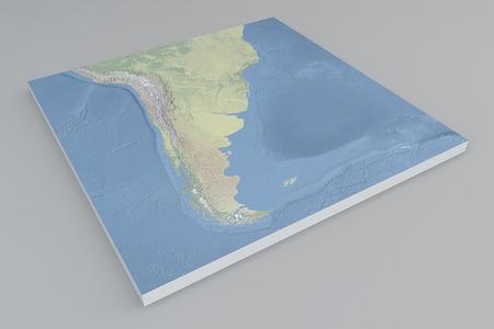 南アメリカの衛星ビュー分割 3 d