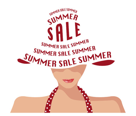 women s hat: Woman with hat fashion summer sale shop