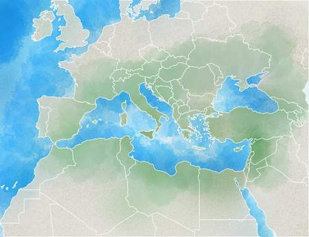 Drawn map showing Europe, Mediterranean, Africa, Middle East