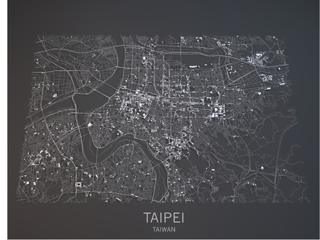 Taipei map, satellite view, Taiwan, 3d