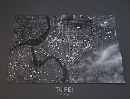 satellite view: Taipei map, satellite view, Taiwan, 3d