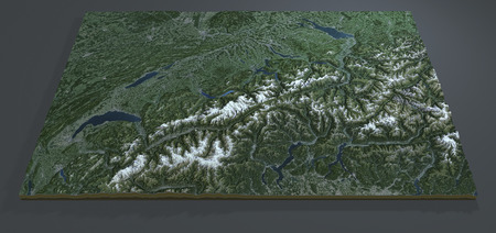 satellite view: Satellite view of Switzerland, section 3d terrain map