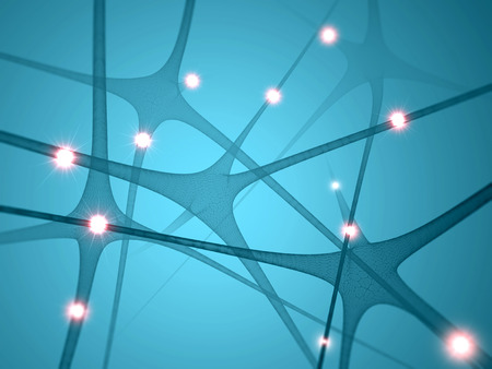 neuron: Neurons, synapses brain communication Stock Photo