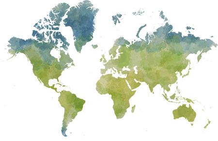 designed: World map, designed illustrated strokes