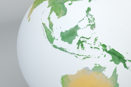 Globe map of Asia, Indonesia, Malaysia, Australia, relief map with physical borders, hand drawn