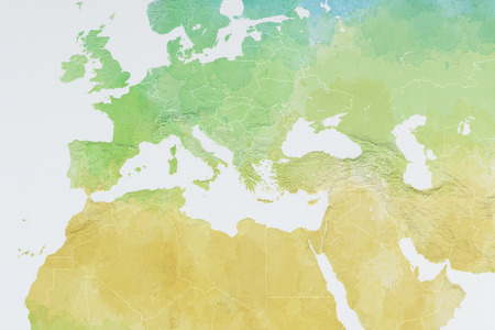 oriente: Europa mapa acuarela ilustración de Europa, Oriente Medio y África Foto de archivo