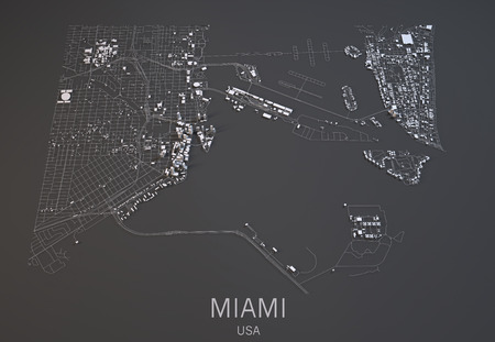 satellite view: Miami map, satellite view, city United States