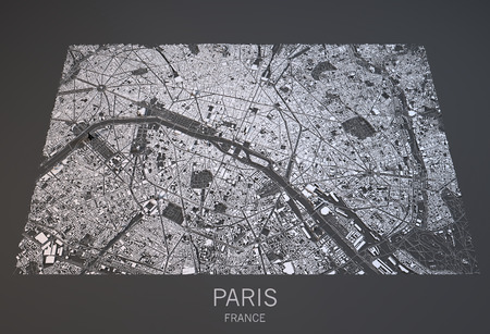 paris: Paris map, satellite view, city France, 3d, black and white Stock Photo