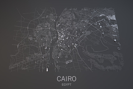 satellite view: Cairo map, satellite view, city Egypt, 3d, black and white Stock Photo