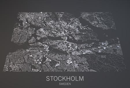 ストックホルム地図表示、衛星ビュー、スウェーデン、黒と白の 3 d の都市