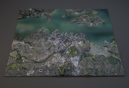 satellite view: Satellite View of Auckland, New Zealand, 3d section