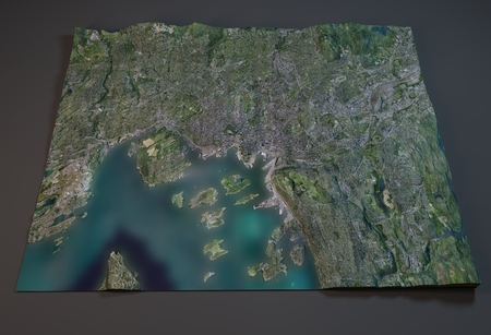 satellite 3d: Satellite View of Oslo, Norway, 3d section