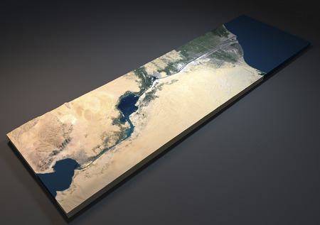 depending: Section of the Suez Canal in 3d, satellite view, Egypt
