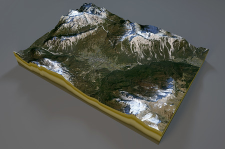 satellite view: Satellite View of Cortina dAmpezzo, mountains, dolomites, section 3d, Italy Stock Photo