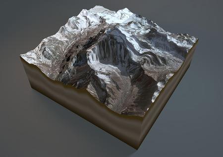 aconcagua: Aconcagua mountain, satellite view, Argentina