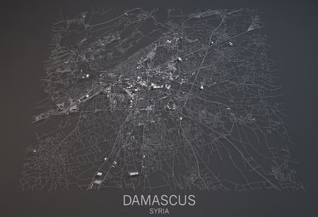 negative area: Map of Damascus, Syria, satellite view, map in 3d. Black and white Stock Photo