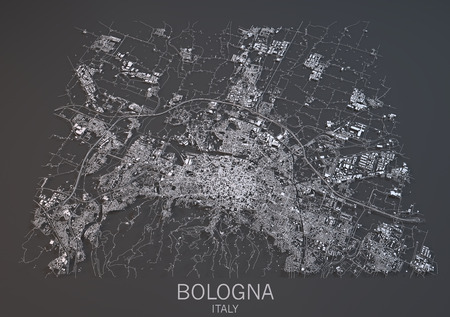 negative area: Map of Bologna, Italy, satellite view, map in 3d