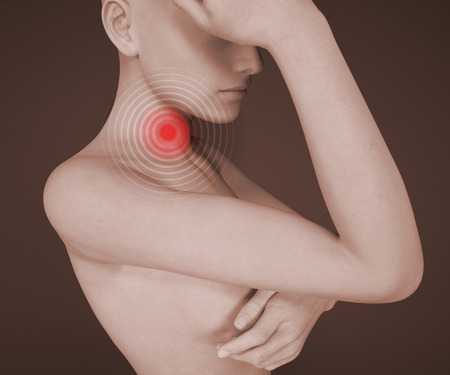 redness: Sore throat inflammation, redness, pain