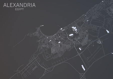 negative area: Map of Alexandria, Egypt, satellite view, map in 3d Stock Photo