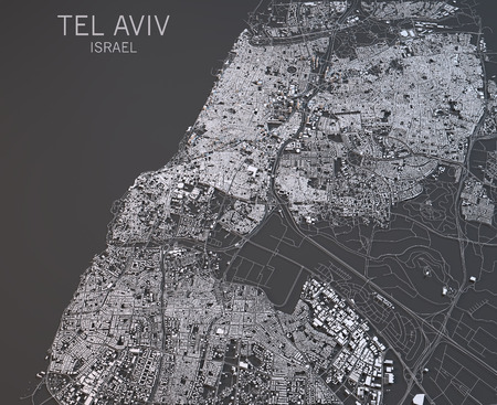 negative area: Map of Tel Aviv, Israel, satellite view, map in 3d Stock Photo