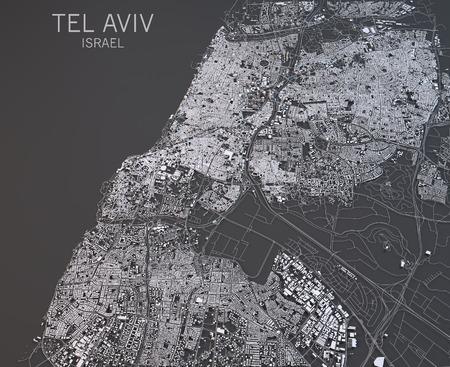 Map of Tel Aviv, Israel, satellite view, map in 3d Stock Photo