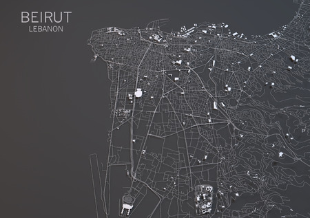negative area: Map of Beirut, Lebanon, satellite view, map in 3d