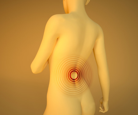 menstrual pain: 3d Woman with pain in back. Illustration of woman with pain in back, highlight with red circles