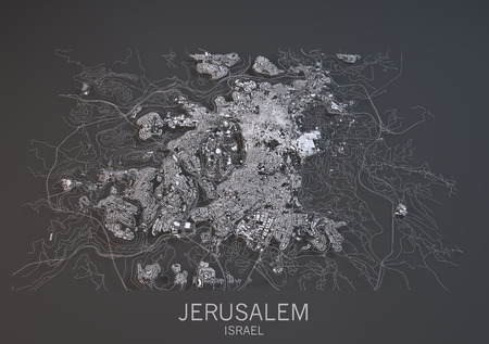 negative area: Map of Jerusalem, Israel, satellite view, map in 3d