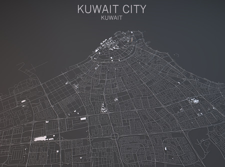 negative area: Map of Kuwait city, Kuwait, satellite view, map in 3d Stock Photo