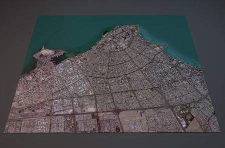 negative area: Satellite View of Kuwait City, Kuwait, 3d section
