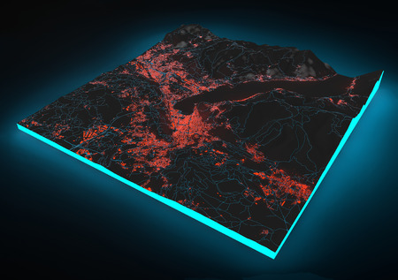 negative area: Satellite night View of Como, mountains, Alpi, section 3d, lights, Italy