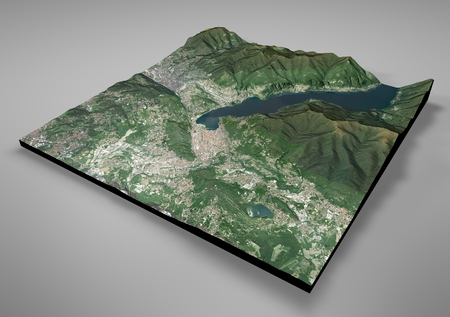 negative area: Satellite View of Como, mountains, Alpi, section 3d, Italy