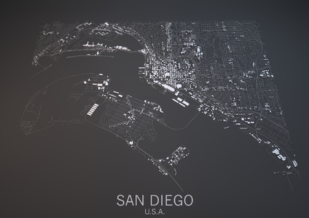 satellite view: San Diego map, satellite view, section 3d, United States