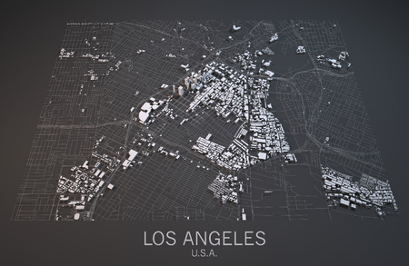 satellite view: Los Angeles map, satellite view, section 3d, United States Stock Photo