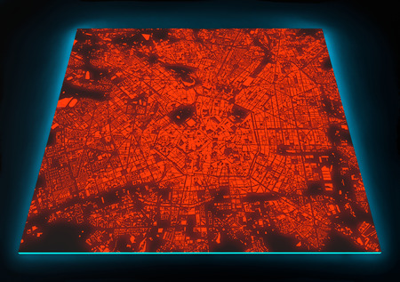 earth map: Satellite view of illuminated Milano map, Italy, on black background