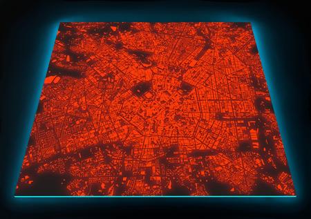 illuminated: Satellite view of illuminated Milano map, Italy, on black background