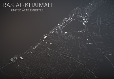 negative area: Map of Ras Al Khaimah, United Arab Emirates, satellite view, map in 3d Stock Photo