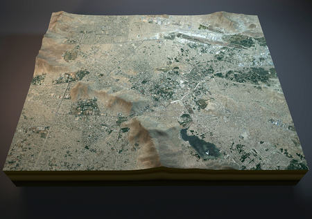 negative area: Map of Kabul, Afghanistan, satellite view, map in 3d
