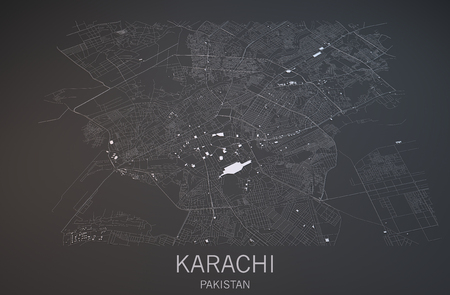negative area: Map of Karachi, Pakistan, satellite view, map in 3d