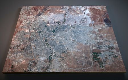 negative area: Map of Aleppo, Syria, satellite view, map in 3d