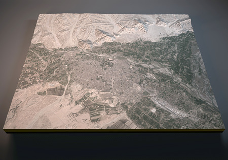 negative area: Map of Jalalabad, Afghanistan, satellite view, map in 3d