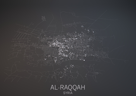 negative area: Map of Al-Raqqah, Syria, satellite view, map in 3d