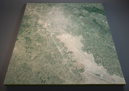 negative area: Map of Kunduz, Konduz, Afghanistan, satellite view, map in 3d.
