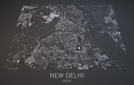 negative area: Map of New Delhi, India, satellite view, map in 3d
